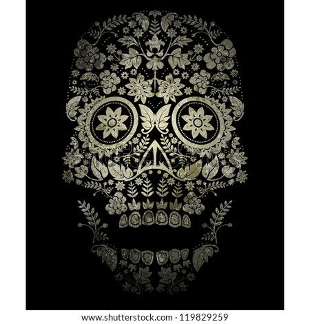 day of the dead skull spooky background - stock vector