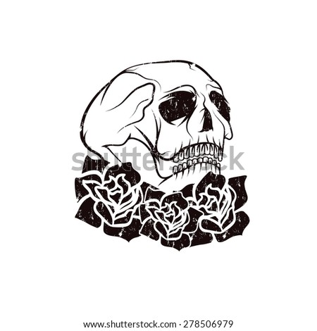 Day of The Dead Skull with flowers , dia de los muertos - stock vector