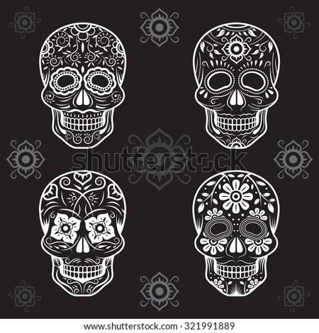 Day of the Dead Skulls, Black and White Set, Black or Dark Background - stock vector