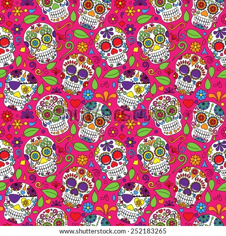 Day of the Dead Sugar Skull Seamless Vector Background - stock vector
