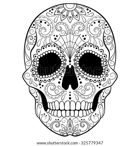 day dead sugar skull detailed floral stock vector
