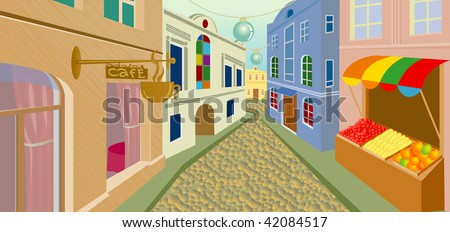 Day street in an old city - stock vector