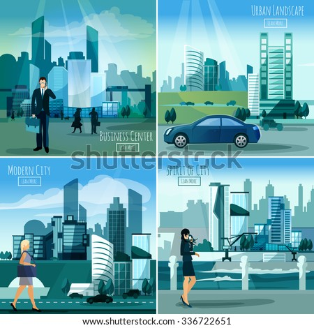 Daylight modern city business center street view 4 flat icons square composition banner abstract isolated vector illustration - stock vector