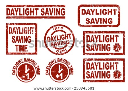 Daylight saving time grunge style ink stamps. Vector illustration on white background. - stock vector
