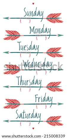 Days of the week and arrows - stock vector