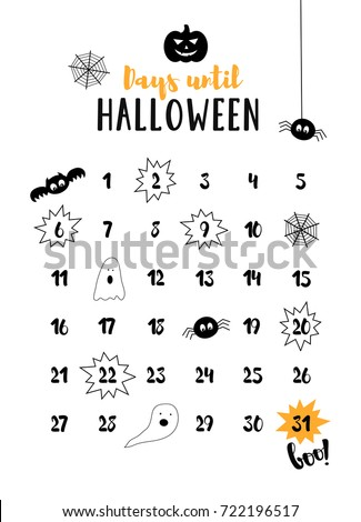 Days Until Halloween Halloween Countdown October Stock Vector ...