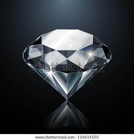 Dazzling diamond on black background - stock vector