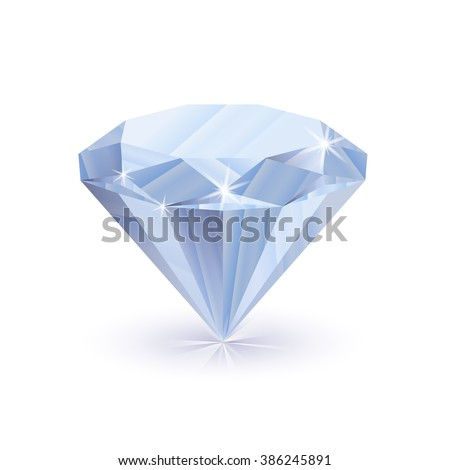 Dazzling shiny diamond with shadow isolated on white - stock vector