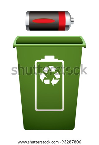 Dead battery with green recycle bin - stock vector