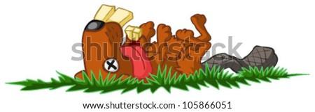 Dead beaver vector cartoon, over white, isolated - stock vector