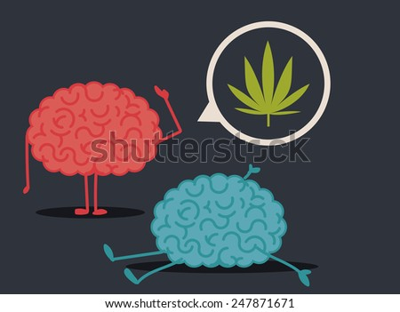 Dead brain by drugs abuse: murder investigation conclusions - stock vector