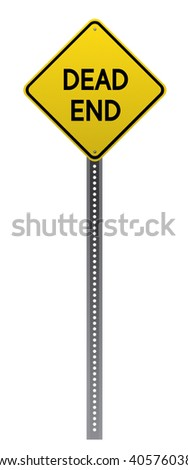 Dead End road sign. Yellow road sign on white background.Vector scalable highly detailed image. - stock vector
