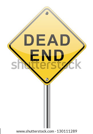 Dead End traffic sign on white