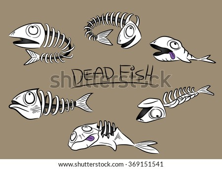 dead fish animal vertebrae spine bones vector illustration - stock vector