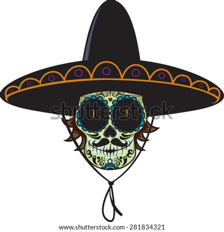 Dead gunman.Mexican sugar skull isolated on white background - stock vector
