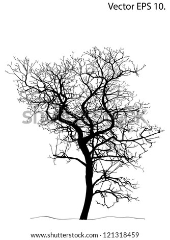 Dead Tree without Leaves Vector Illustration Sketched, EPS 10. - stock vector