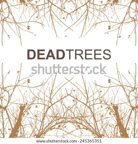 Dead trees on white background, vector illustration - stock vector