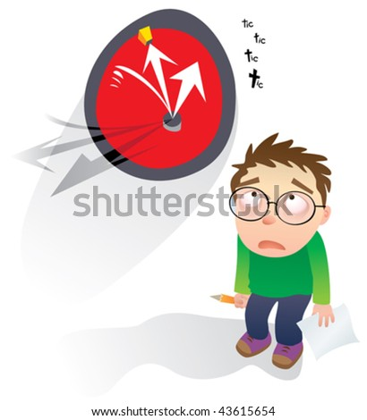 Deadline! Vector illustration of a guy with blank page syndrome. - stock vector