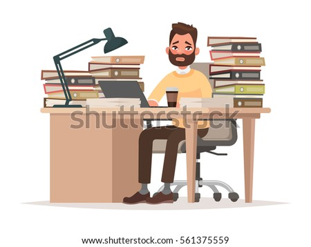Deadlines at work. Tired office worker man at his desk with a lot of documents and folders. Vector illustration in cartoon style