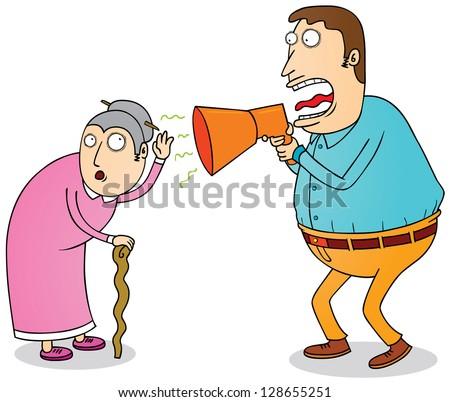 deaf grandma - stock vector