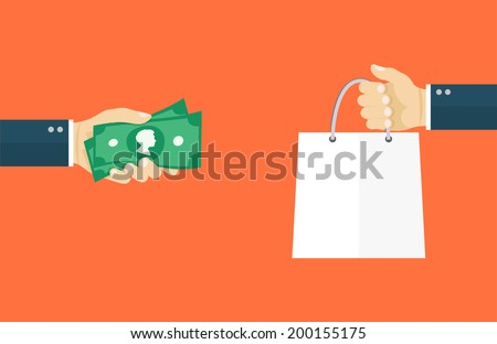 Deal flat illiustration.Hand holding money and hand holding paper bag. eps8 - stock vector