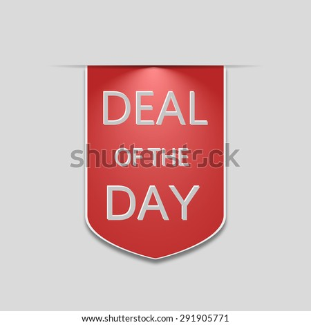 Deal of the day vertical ribbon bookmark tag element for sales promotion. stock vector - stock vector