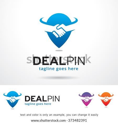 Deal Pin Logo Design Template  - stock vector