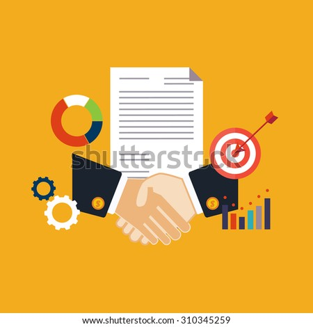 Deal, shaking hands vector illustration flat style - stock vector