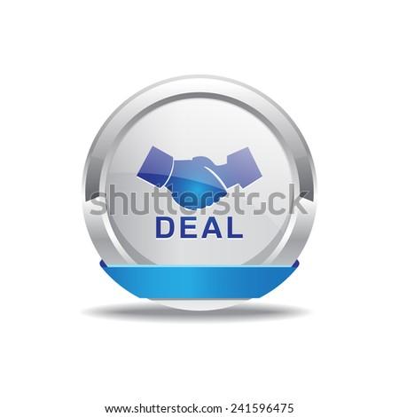 Deal Sign Blue Vector Icon Button - stock vector