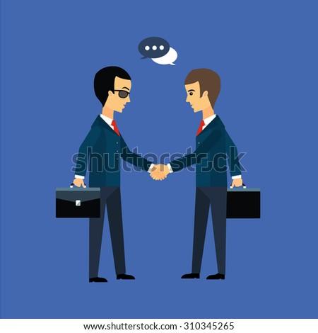 Deal, two businessmen shaking hands vector illustration - stock vector