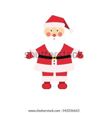 Dear Christmas character Santa Claus in traditional costume in flat style. Dear Christmas character Santa Claus with beard and mustache in traditional  red costume in flat style. - stock vector