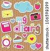 dear diary scrapbook elements. vector illustration - stock vector