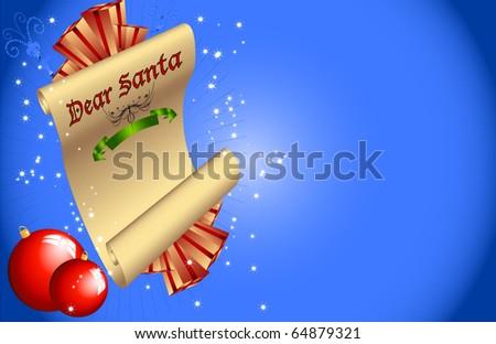 Dear Santa Christmas Vector Layout - stock vector