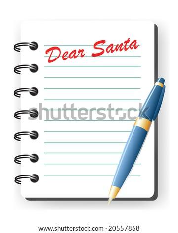 dear santa vector letter - stock vector