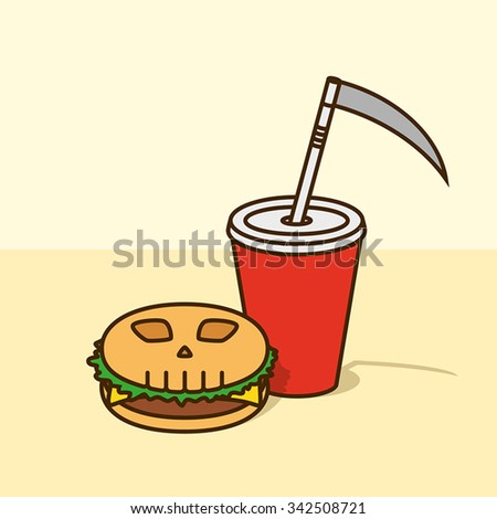 Death fast food illustration with burger and soda - stock vector