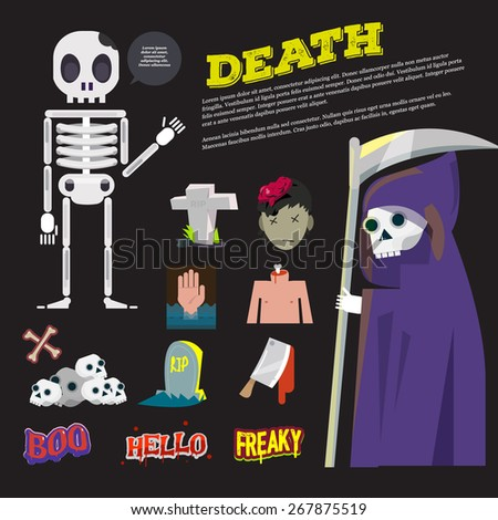 death icon and the reeper character come with death typographic design - vector illustration - stock vector