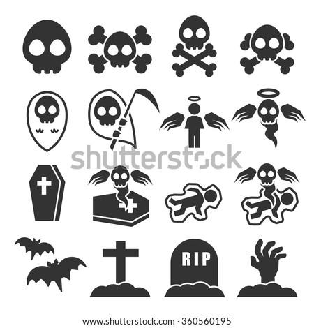 death icon set - stock vector