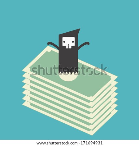 Death or ghost money - stock vector