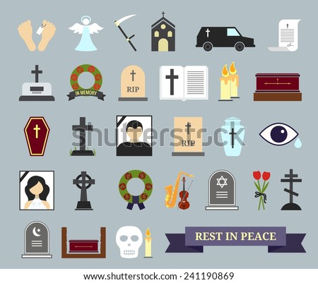 Death, ritual and burial colored icons. Web elements on the theme of death, the funeral ceremony. Vector illustration - stock vector