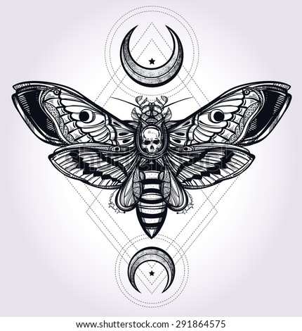 Death's head hawk moth with moons, geometry lines. Design tattoo art. Isolated vector illustration. Trendy Vintage element. Dark romance, philosophy, spirituality, occultism, alchemy, death, magic.  - stock vector