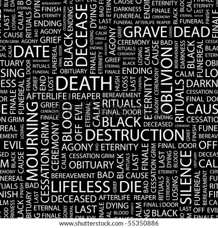 DEATH. Seamless vector background. Illustration with different association terms.