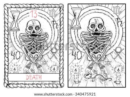 The Major Arcana Tarot Card Vintage Hand Drawn Engraved Illustration With Mystic Symbols
