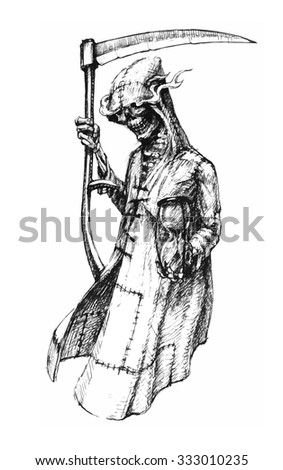 Death with a scythe in hood with an hourglass - stock vector