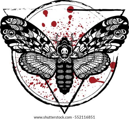 Deaths head moth illustration