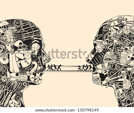 Debate. The science of communication. - stock vector