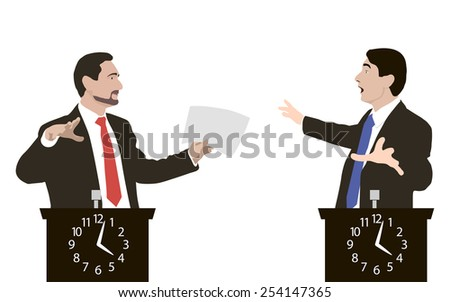 Debate two speakers. Speakers in dialogue using energetic gestures. Men gave a speech very active. Rostrum as a clock timer. Political speech. Controversy. Orator. Illustration. Image. Vector. Icon. - stock vector