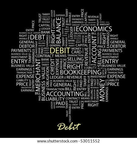 DEBIT. Word collage on black background. Vector illustration. - stock vector