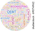 DEBIT. Word collage on white background. Illustration with different association terms. - stock photo