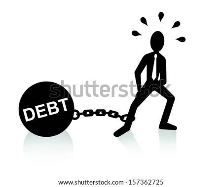 debt burden concept, man dragging chains and big ball - stock vector