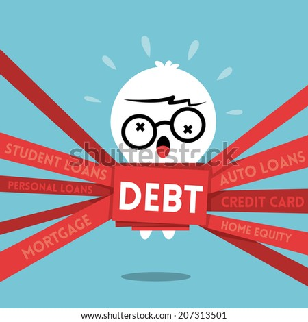 Debt concept cartoon illustration with a man wrapped up in red tape  - stock vector